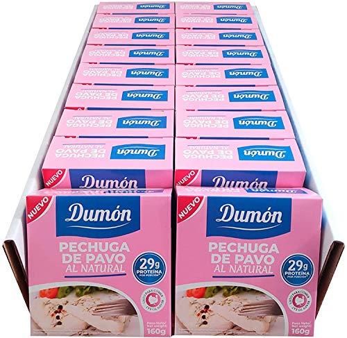 DUMON - NUEVO - 18 Unidades de 160 gr de Conservas de Pechugas de Pavo en su Propio Jugo o Agua. Alimento Enlatado Alto en Proteínas 29 gr cada porción de Pavo Natural. Abre Fácil.