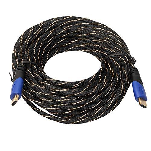 ESORST 15 Metros 49.2ft Nueva Trenzado HDMI 1.4 Cable Conector Dorado de conexión 1080P HD AV Cable Cable HDMI (Color : Blue)