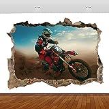 Pegatinas de pared Motocross Dirt Bike deportes extremos 3D Mural calcomanía...