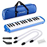 CAHAYA Melodica 2 Double Mouthpieces Tube Sets Pianica Melodicas Piano Style 32 Key Portable with Carrying Bag