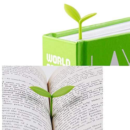 Kentop 6stk Sprießen Kleine Grün Lesezeichen Mini Grün Sprießen Lesezeichen Silikon Gras Knospen Lesezeichen Kreative Geschenke für Bücherwurm Buch Liebhaber Lesen
