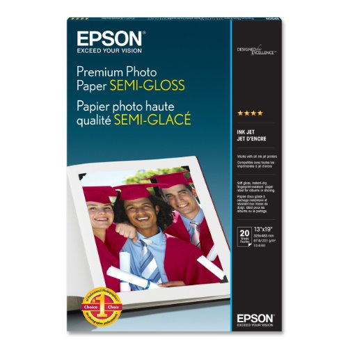 Epson Premium Photo Paper SEMI-GLOSS (13x19 Inches, 20 Sheets) (S041327),White