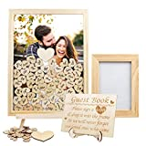 Aytai Wedding Guest Book Alternative, Wooden Picture Frame Drop Top Frame Guest Book with 80 Blank Hearts, Wooden Frame for Anniversary Baby Shower Home Rustic Wedding Decorations, Display Easel