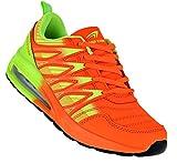 Bootsland Neon Turnschuhe Sneaker Sportschuhe Luftpolster Unisex 002, Schuhgröße:43, Farbe:Orange/Grün