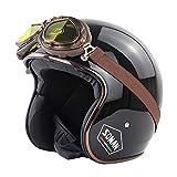 H-CAR Casco Semiintegral para Moto, Vintage Cascos de Moto Jet,con Visera UV Gafas,ECE Homologado,para Hombres Mujeres Scooter, Chopper, Retro, Retro,Motociclista con Gafas