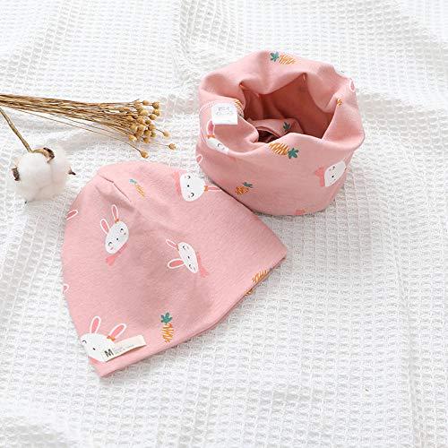 N-N Sombrero De Bebé Sombrero para Conjunto De Bufanda Bebé Niñas Cubierta Cabeza Otoño Cálido Cuello para Conjuntos De Gorros para Algodón Sombrero para Bebé Bufanda-Dark_Pink_Rabbit_M_3_Month-3