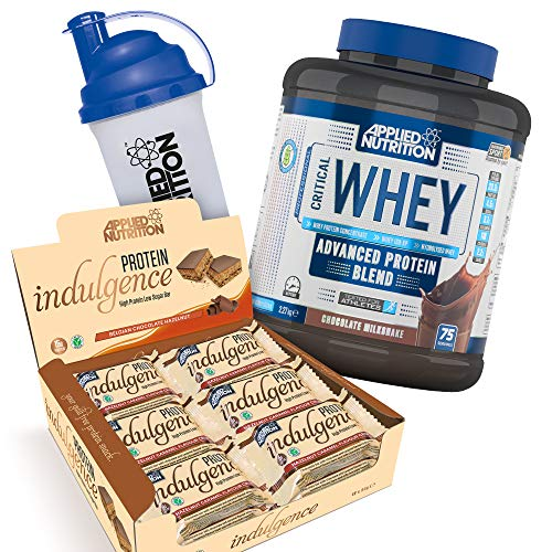 Applied Nutrition Bundle Critical Whey Protein Powder Shake 2.27kg + Protein Indulgence High Protein Low Sugar Bar Box 12 x 50g + 700ml Shaker (Whey Chocolate + Indulgence Choc Hazelnut)