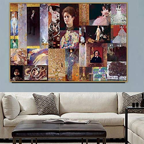 zkkpainting muur kunst olieverfschilderij modulair beeld canvas schilderij Gustav Klimt oude beroemde meester kunstenaar portret van een vrouw poster muur kunst huisdecoratie