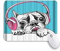 NIESIKKLAマウスパッド ヘッドフォンかわいい動物とバグドッグ ゲーミング オフィス最適 高級感 おしゃれ 防水 耐久性が良い 滑り止めゴム底 ゲーミングなど適用 用ノートブックコンピュータマウスマット