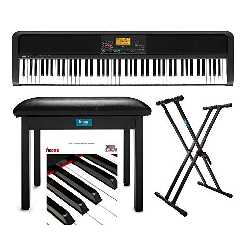 Korg XE20 88-Key Natural-Touch Digital Ensemble Piano Bundle with Keyboard Stand, Piano Bench, and Learning Book/CD (4 Items)