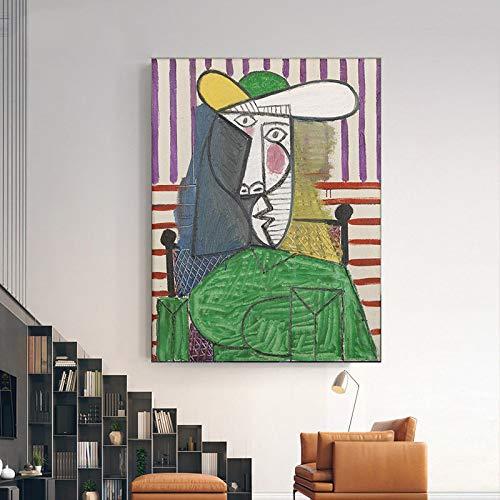 yhyxll Picasso Guernica Berühmte Gemälde Druck auf Leinwand Kunstdrucke Picasso Artwork Abstrac Figur Gemälde Wandbilder Home Decor 40X50CM