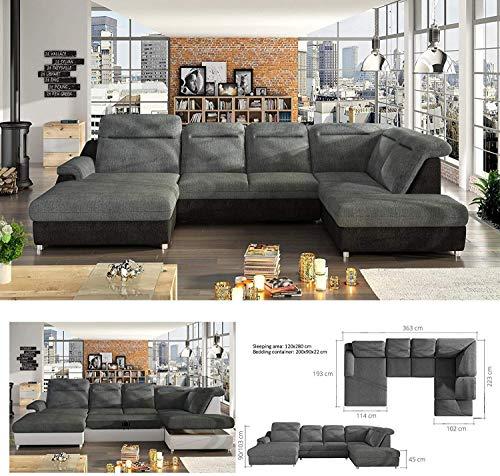 BMF Monero XL - Sofá cama esquinero grande en forma de U, color a elegir tu tipo de tela, piel sintética, color gris y negro, con respaldo ajustable tapizado, cama extraíble de 363 cm x 223 cm
