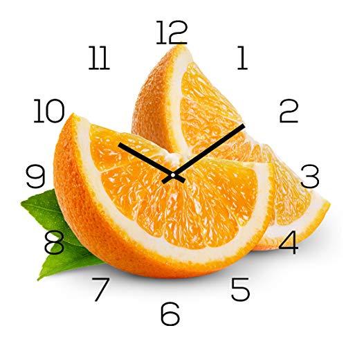 levandeo Wanduhr Glas 30x30cm Glasuhr Uhr Glasbild Frucht Küchenuhr Orange Deko Fruit Küchendeko