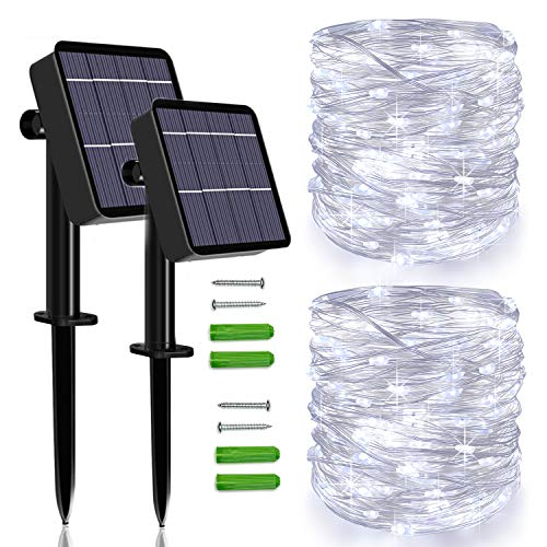 Solar String Lights Outdoor, 2 Pack 120 LED Solar Fairy Lights 46Ft Solar Garden Lights Waterproof 8 Modes Indoor/Outdoor Copper Wire Decorative Lighting for Home Patio Yard Party Wedding(Cool White)