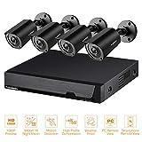 FLOUREON 8CH Système de Surveillance 5 in 1 TVI/AHD/CVI/CVBS/IP Caméra DVR 1080N Enregistreur Vidéo + 4 * Caméra Vidéosurveillance HD 1080P CCTV Vision Nocturne Invisible IR Alerte de Mouvement IP66