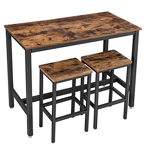 VASAGLE Bar Table Set, Bar Table with 2 Bar Stools, Breakfast Bar Table and Stool Set, Kitchen Counter with Bar Chairs, Industrial for Kitchen, Living Room, Party Room, Rustic Brown and Black ULBT15X