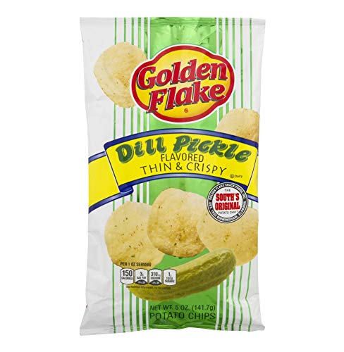 Golden Flake Dill Pickle Potato Chips, 5oz Bag (Pack4) by Golden Flake