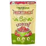 BIO Erdbeeren gefriergetrocknet 25g I Getrocknete Erdbeeren Scheiben ohne Zucker I 100% Frucht, voller Geschmack