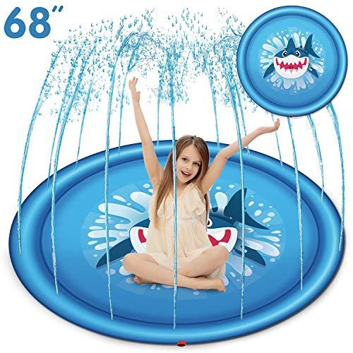 JOYIN Sprinkler for Kids 68 Shark Sprinkler & Splash Plat Mat for Toddlers Outdoor Toy Splash Pad