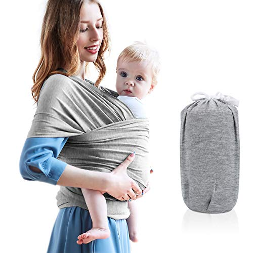 Jhua Baby Wrap Carrier, Soft Breathable Elastic Cotton Baby Sling Adjustable Hands Free Babies Carrier Wraps with Storage Bag, Fits Infants up to 35 lbs/16kg, Best for Baby Shower Gift, Gray