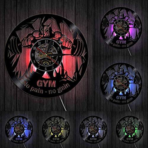 ZZLLL Fitness Club Motif Beast Mute Reloj de Pared Gym decoración Disco de Vinilo Reloj de Pared Culturismo Botella de Agua Reloj de Bolsillo Retro - con LED