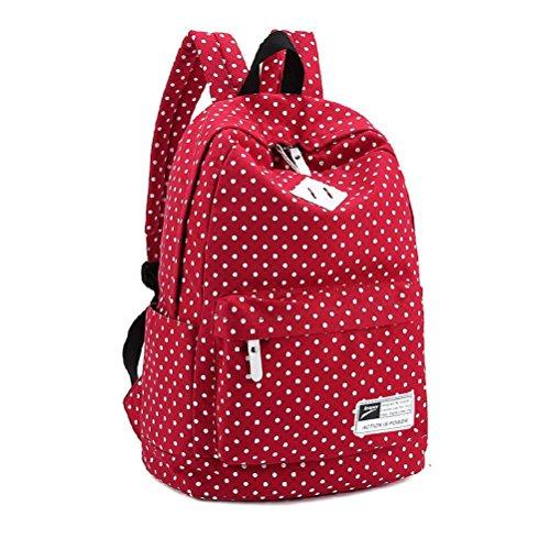 Der reizende Polka-Punkt-Leinwand-Schulrucksack der Frauen haben das Specialized Mezzanine, das Laptop unter 14-Zoll halten kann (rot)