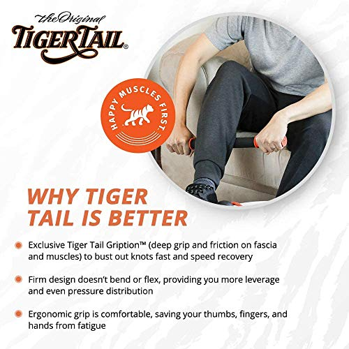 Tiger Tail 18in Massage Stick Portable Roller, Handheld, Deep Tissue Foam Roller, Body Massage and Myofascial Release Tool for Legs, Neck, Calves, Thighs, Shins & Back, The Orginal 18, Made in USA, Orange Black