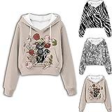 Bsemax Crop Jersey para mujer con estampado de gato, de manga larga, con cordón, con capucha, para adolescentes y niñas, Negro , XXL