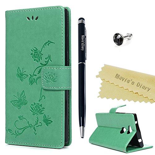 Sony Xperia XA2móvil Case Mavis 's Diary Lotus Flores Piel Funda Flip Cover Funda Carcasa skin Función Atril Carcasa Resistente al Bumper Cartera Cierre Magnético Wallet verde menta