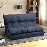 Fabric Floor Couch Lounge with 5 Adjustable Reclining Position, Foldable Japanese Floor Futon, Tatami Style Floor Sofa Bed for Sit Sleep Naps or Play (Navy Blue)