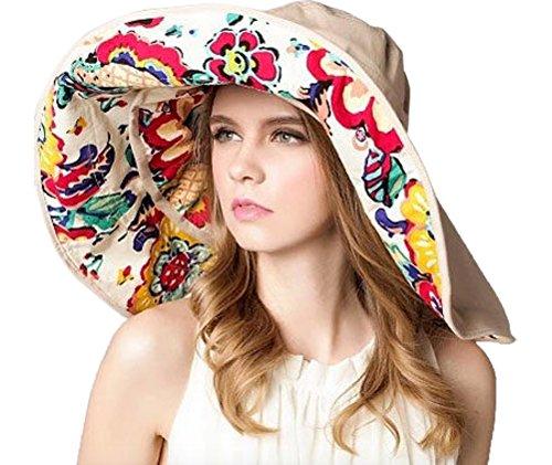 WSLCN Femme Fille Capeline Amovible Bord Large Anti-UV Double-Face Imprimé Chapeau de Plage Respirant pour Voyager Randonnée en Coton Beige