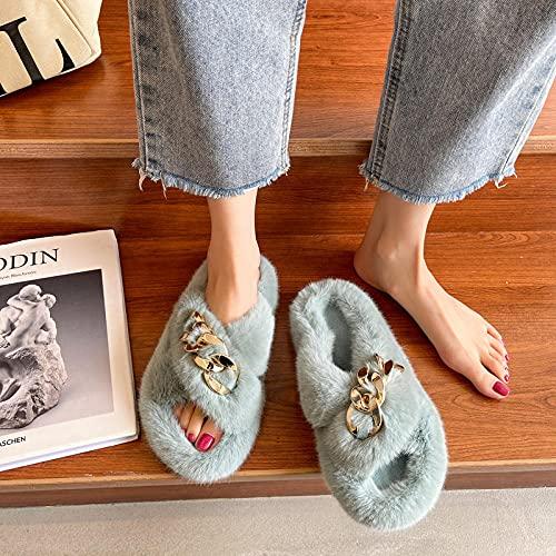 Memory Foam Zapatillas De Casa para Mujer,Zapatillas Peludas, Estilo Coreano para La Ropa Exterior De Las Mujeres, Zapatillas De AlgodóN CáLidas para Celebridades De OtoñO E Invierno Pa