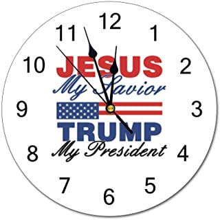 Chenxiaobo Jesus My Savior, Trump My President Wall Clock Silent Non Ticking Operated Round Easy to Read Home/Office/Classroom/School Clock