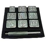 Reuvv Lettera Alfabeto e Numero Timbri Punzone Kit, Incisione pelle Arte Fatto a Mano Durevole Metallo Fai da Te Sella Creazione Strumenti