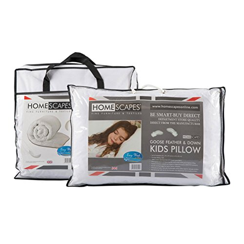 Homescapes Goose Feather & Down Kids Duvet & Pillow Set 4.5 Tog Hypoallergenic & Anti Dust Mite Filling Summer Duvet: 120 x 150 cm Pillow: 40 x 60 cm Soft-Medium Firmness, Washable at Home, RDS Certified.