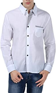 pipigo Mens Long Sleeve Solid Lapel Juniors Button Down Shirts