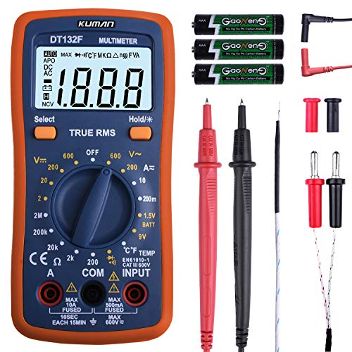 kuman Multimeter Pocket Digital Multi Tester Voltmeter Ammeter Ohmmeter AC/DC Voltage Current Resistance Diodes Temperature Audible Continuity with Backlight LCD for Electronic Test DT132F (Automóvil)