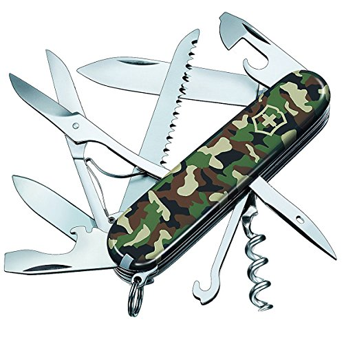 Victorinox Huntsman Swiss Army Pocket Knife, Medium, Multi Tool, 15 Functions, Large Blade, Bottle Opener, Camouflage