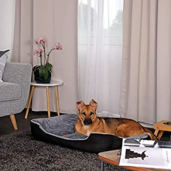 lionto by dibea Lit chien coussin chien panier chien avec coussin taille (XL) 90x70 cm gris/noir