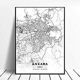 Kunstdrucke Leinwand Ankara Türkei Schwarz-Weiß-Stadt