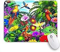 EILANNAマウスパッド ラブリーオウムジャングルで出来ること ゲーミング オフィス最適 おしゃれ 防水 耐久性が良い 滑り止めゴム底 ゲーミングなど適用 用ノートブックコンピュータマウスマット