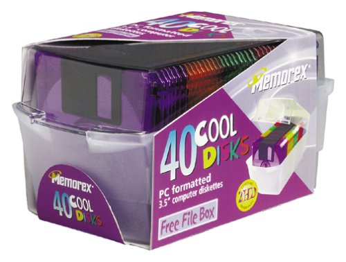 Memorex 3.5 - Inch PC-Formatted High-Density Floppy Disks with File Box Colors, 40-Pack (Discontinued by Manufacturer)