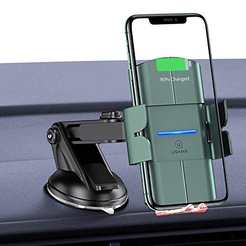 USAMS Cargador Inalámbrico Coche,10W Carga Rápida Cargadores Inalambricos Soporte Móvil Rejilla de Ventilación para iPhone 11/11 Pro/XS MAX XR X/8/8 Plus,Samsung Galaxy Note 9 8 5/S9/S8/S8 (Nero)