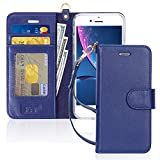 FYY Case for iPhone 7/8/SE 2020 (2nd), [Kickstand Feature][Wrist Strap] Luxury Genuine Leather Flip Wallet Phone Case Folio Cover with Card Holder for iPhone 8/7/SE (2nd) 2020 4.7' Navy Blue