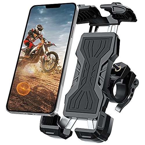 Bike Phone Mount, All-Round Adjustble Motorcycle Phone Mount, Bike Phone Holder for Handlebars Fits iPhone 12 Pro Max//11 Pro/XR/XS MAX,Galaxy S20/S10/Note 10 and All 4.7-6.8inches Devices(Black)