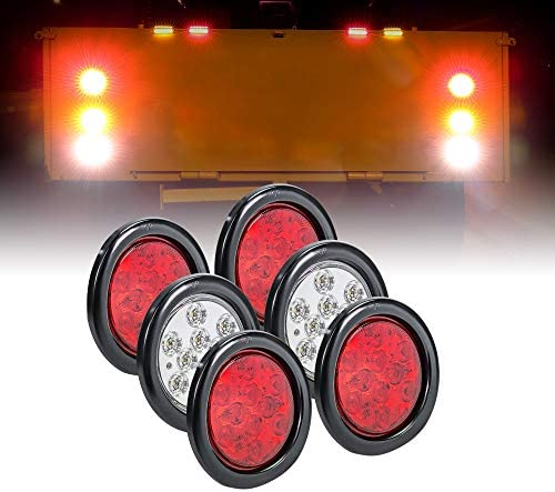 4 Red 2 White 4 Round LED Trailer Tail Light Kit DOT Certified Grommets Plugs Included IP67 product image
