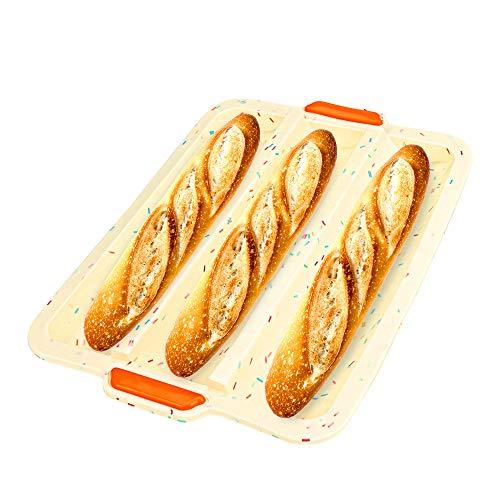 Brynnl Bandeja de Silicona para Hornear Pan francés, 3 panes ondulados, Bandeja para Hornear Baguette, Bandeja Antiadherente para Hornear Pan, para Pasteles caseros, panes (31 cm x 23 cm x 2 cm)