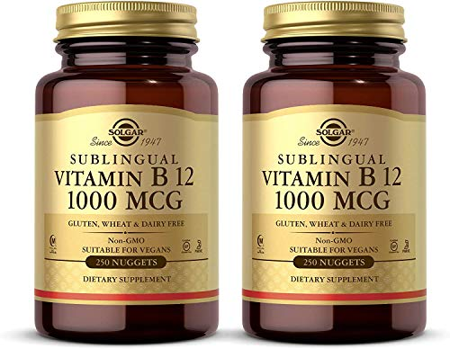 Solgar Vitamin B12 1000 mcg, 250 Nuggets - 2 Pack - Supports Production of Energy, Red Blood Cells - Healthy Nervous System - Promotes Cardiovascular Health - Non-GMO, Gluten Free - 500 Total Servings