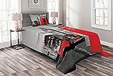 ABAKUHAUS London Tagesdecke Set, London Retro Handyzelle, Set mit Kissenbezug luftdurchlässig, für Einselbetten 170 x 220 cm, Rot Grauen