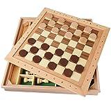 Xywh Tablero de ajedrez Profesional Madera Maciza de descompresión Damas de ajedrez ajedrez Tridimensional niños Rompecabezas Adulto Juega ajedrez Padre-Hijo de Ocio Juego de Damas